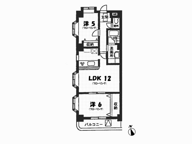 ガーデンパレス玉川 402号室 間取図