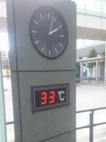 二子玉川の気温が33度